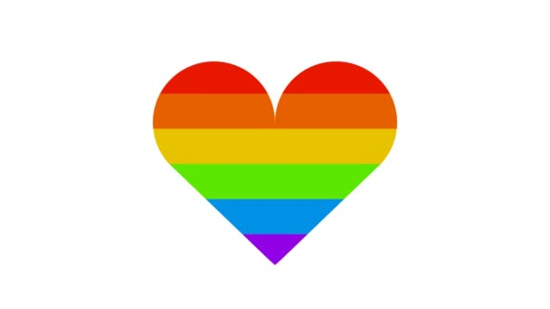Colorful rainbow lgbt heart becomes red like a symbol of love on white background animation