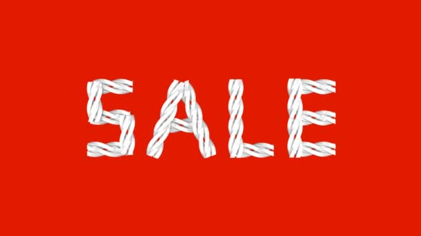 Velké bílé slovo prodej s pohyblivými elementy na červené pozadí s 3D animací