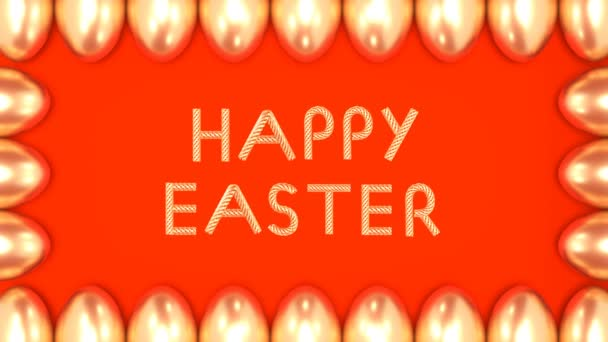Goldener Text glücklicher Ostern der bewegten Elemente mit einem Rahmen von Eiern auf hellem Hintergrund looped 3d Animation