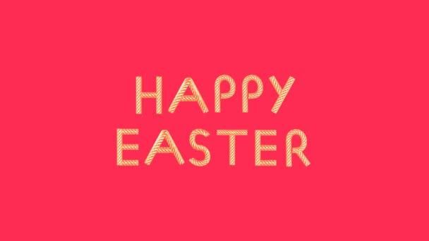 Goldener Text glücklicher Ostern der bewegten Elemente auf rosa Hintergrund looped 3d Animation