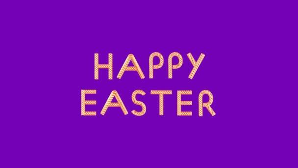 Goldener Text glücklicher Ostern der bewegten Elemente auf violettem Hintergrund looped 3d Animation