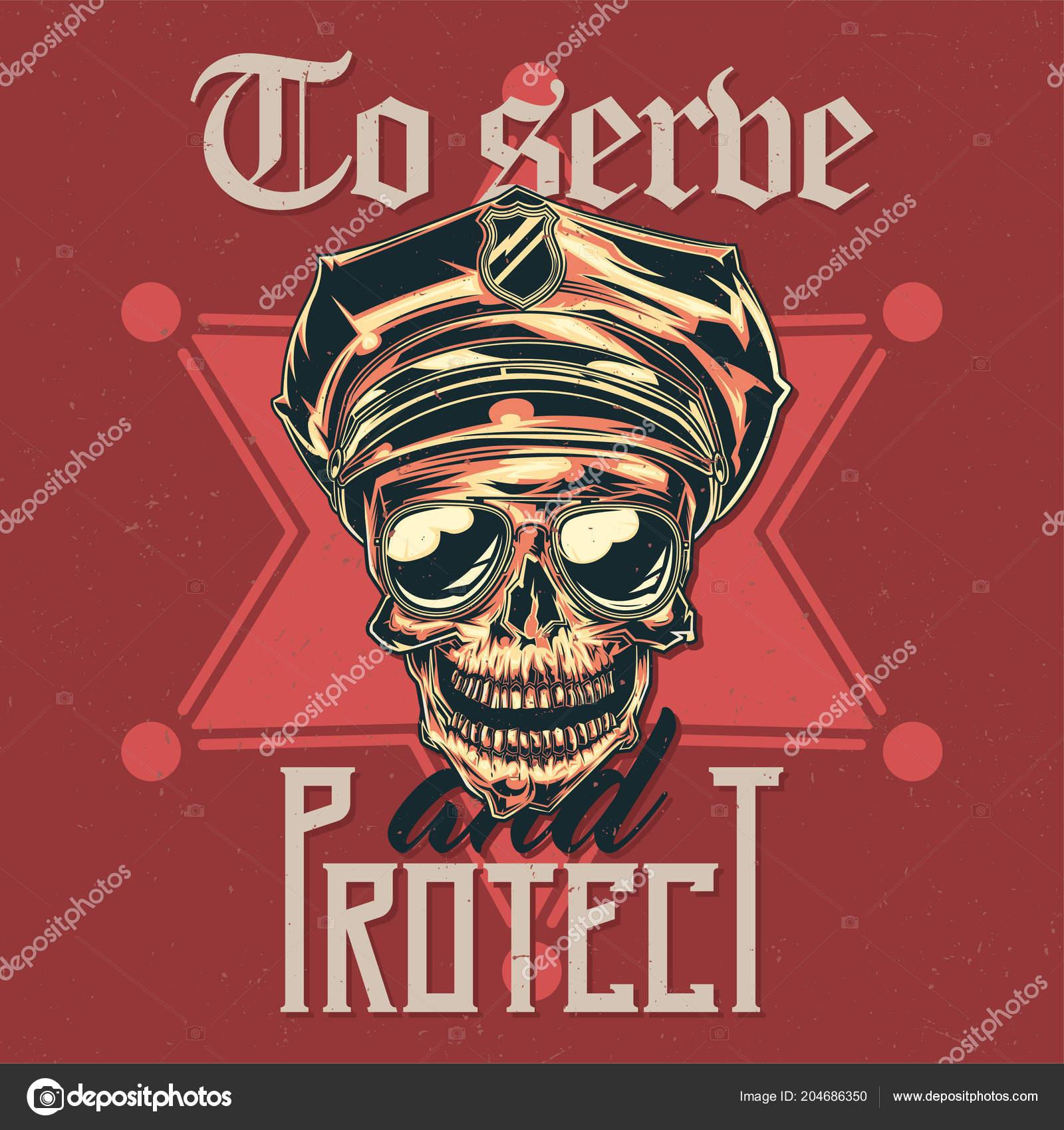 T-shirt design etichetta con illustrazione del cranio in un cappello della  polizia e occhiali da sole — Vettoriali di ... 7db5ecd613b0