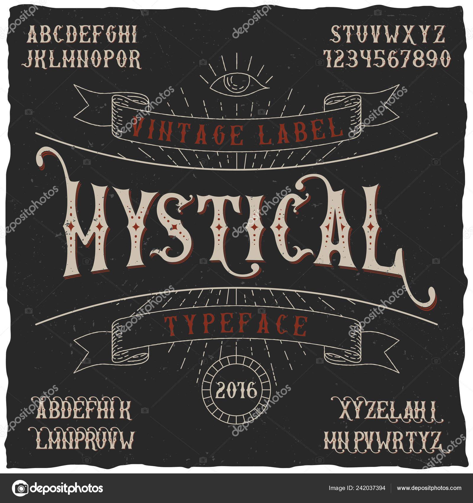 Rótulo de mística Typeface Poster — Vetores de Stock © antonantipov