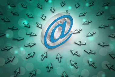 3D illustration of e-mail sign with mouse pointer