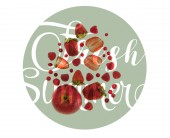 Fotografie different organic red fruits and berries isolated on white with fresh summer lettering