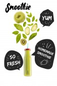 Fotografie green healthy smoothie fruits in glass bottle isolated on white, with homemade smoothie, yum and so fresh inspirations in speech bubbles