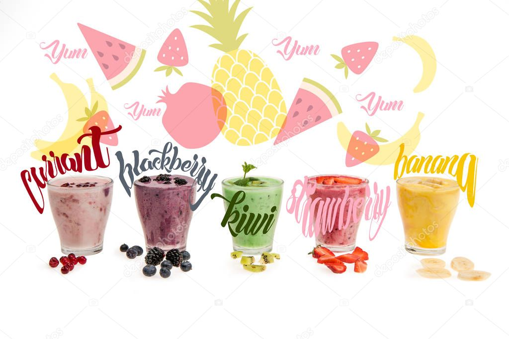 Close-up view of glasses with fresh smoothies made of currant, blackberry, kiwi, strawberry, banana,  isolated on white with illustrations stock vector
