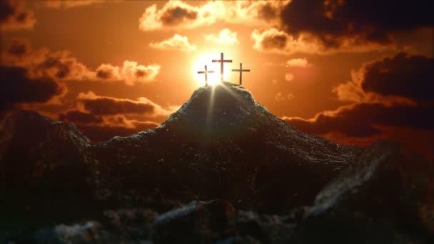 Golgotský kopec u starověkého Jeruzaléma, kde byl ukřižován Ježíš Kristus. Svatý kříž s mystickými mraky a paprsky světla. 3D vykreslování