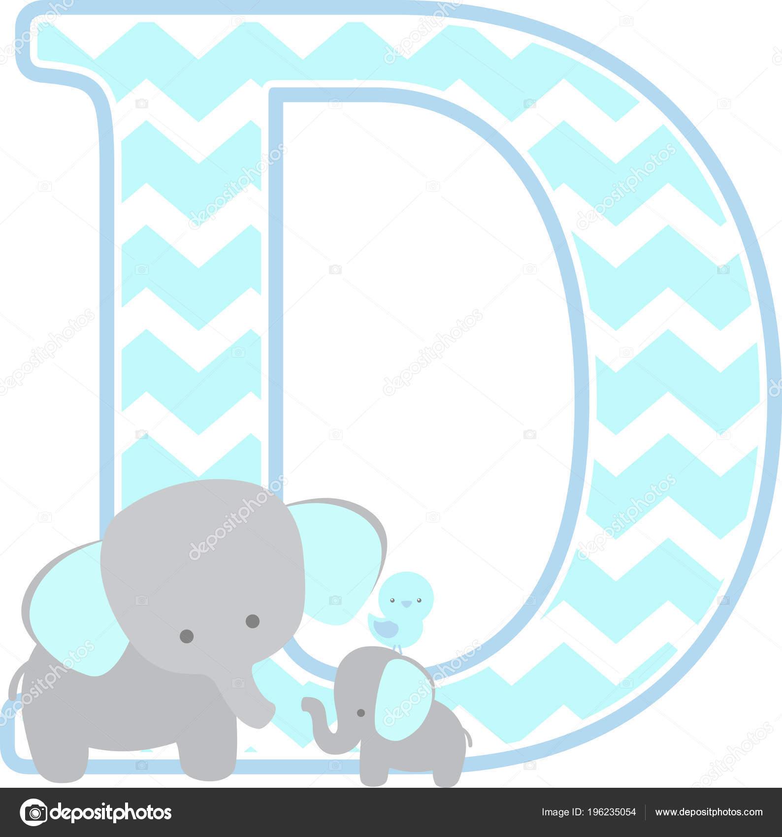 Initial Mit Niedlichen Elefanten Und Kleine Baby Elefant Isoliert