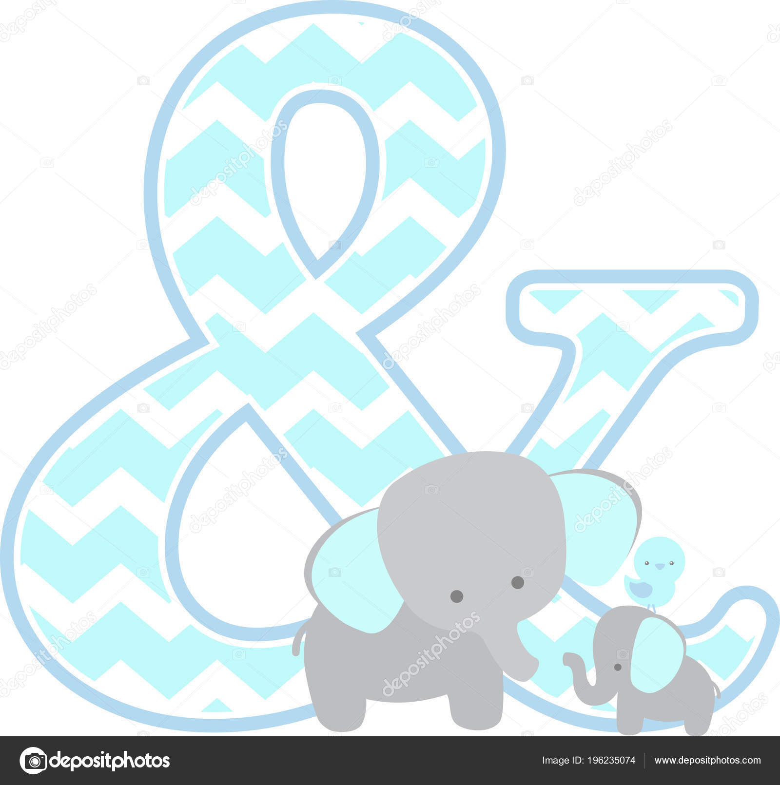 Kaufmannisches Symbol Mit Niedlichen Elefanten Und Kleine Baby