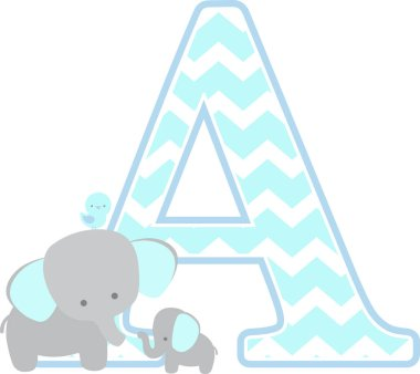 initial a with cute elephant and little baby elephant isolated on white background. can be used for father's day card, baby boy birth announcements, nursery decoration, party theme or birthday invitation