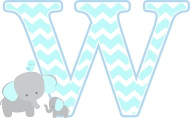 initial w with cute elephant and little baby elephant isolated on white background. can be used for father's day card, baby boy birth announcements, nursery decoration, party theme or birthday invitation