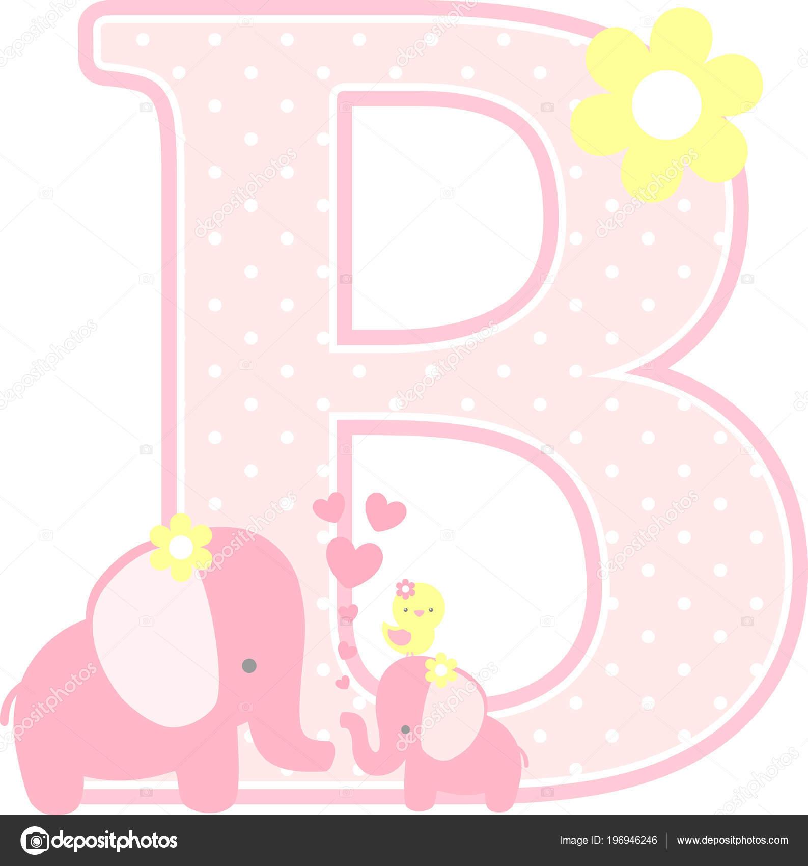 Erste B Mit Niedlichen Elefanten Und Kleine Baby Elefant, Isoliert Auf  Weiss. Einsetzbar Für Mutter Tageskarte, Baby Mädchen Geburtsanzeigen, ...