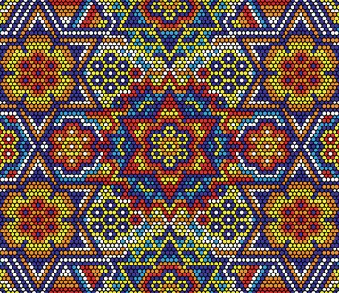 vector illustration of colorful abstract seamless pattern with mexican huichol art style
