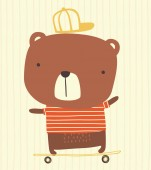 Photo cute bear with cap riding a skateboard on striped background. hand drawn style illustration can be used for nursery decoration, greeting cards, fashion print design