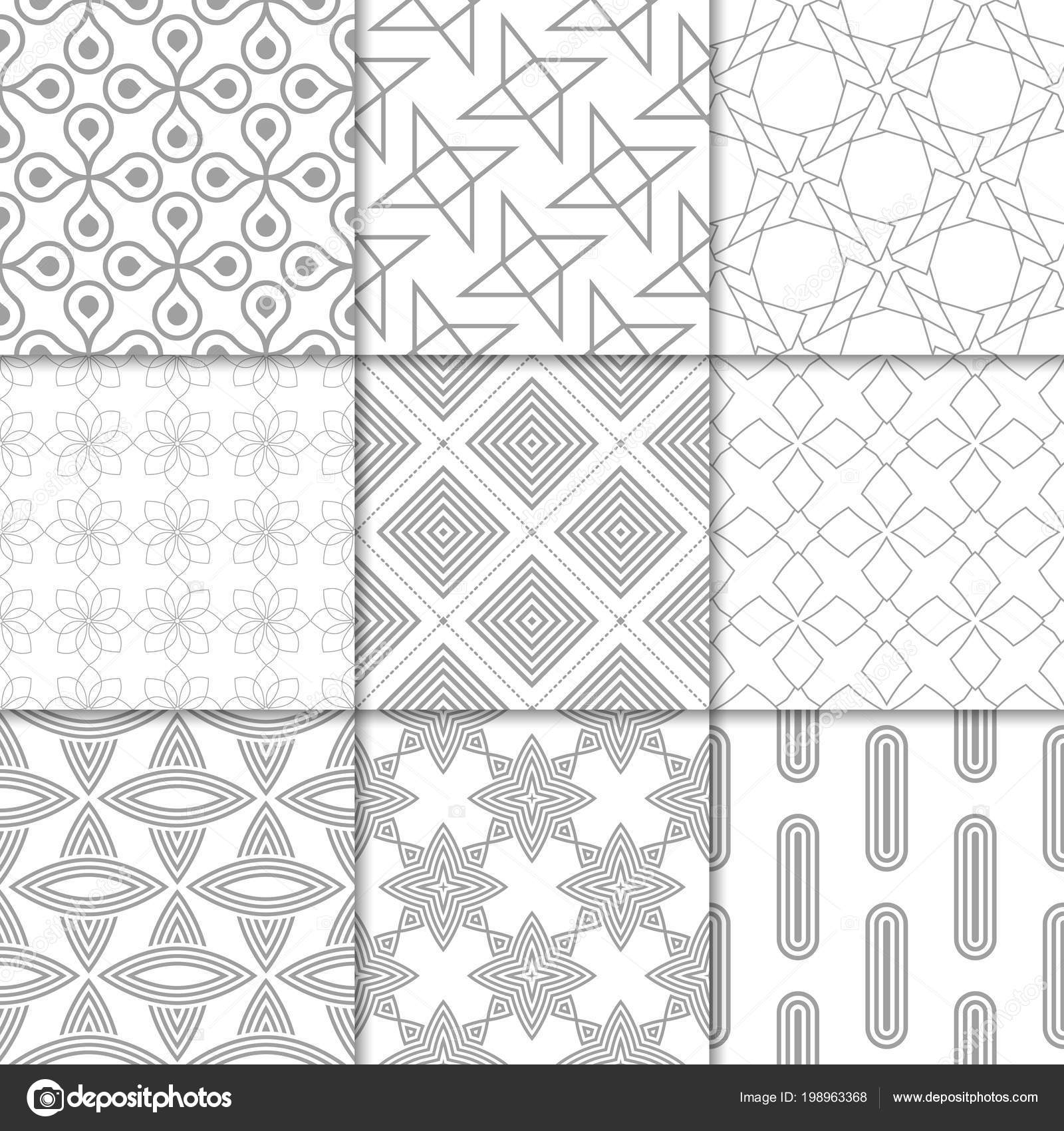 Light Gray Geometric Ornaments Collection Neutral Seamless Patterns Web Textile