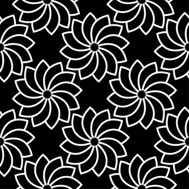 White floral ornament on black background. Seamless pattern for textile and wallpapers