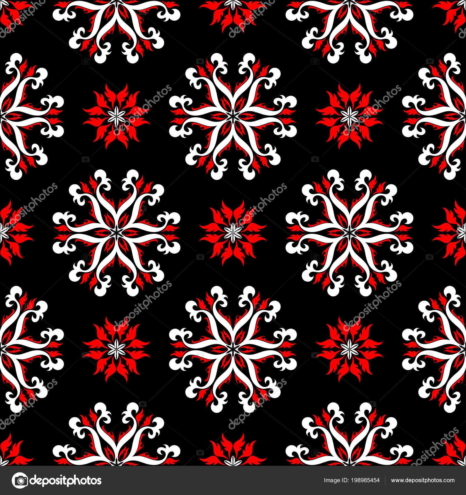 Noir Rouge Blanc Transparent Motif Floral Arriere Plan