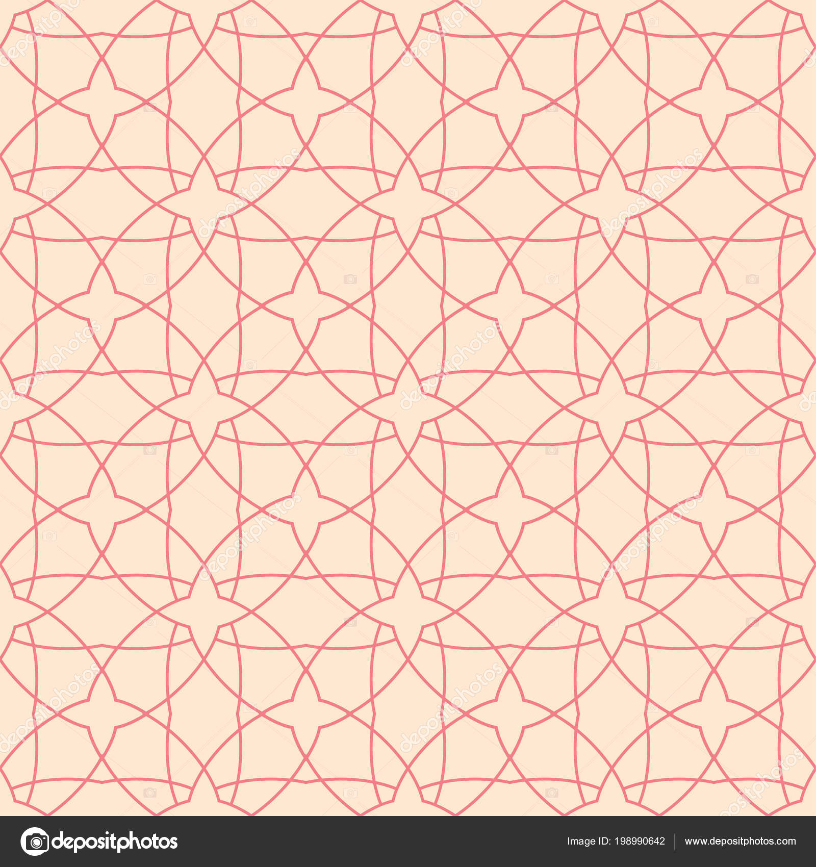Red And Beige Geometric Ornament Seamless Pattern For Web, Textile