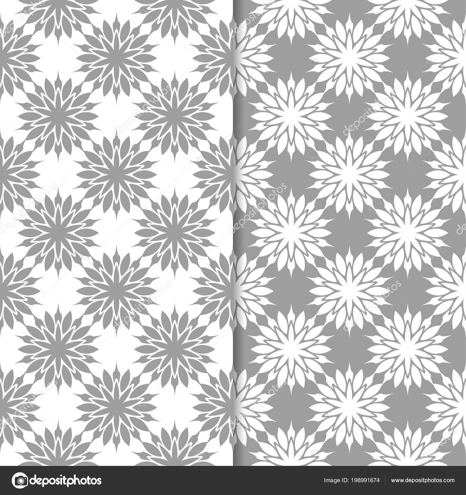 White Gray Floral Backgrounds Set Seamless Patterns Textile Wallpapers Stock