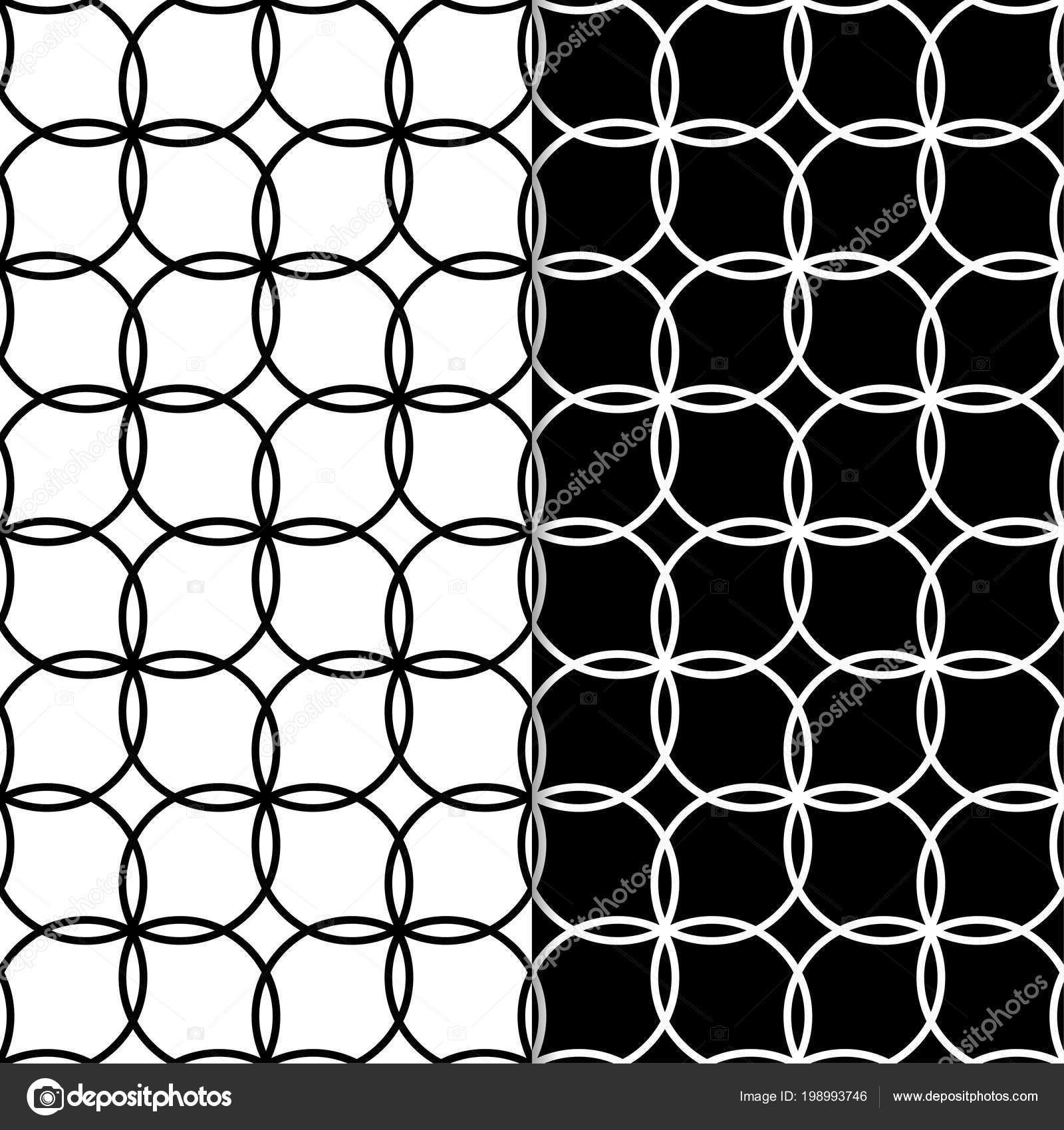Black And White Geometric Ornaments Set Of Seamless Patterns For
