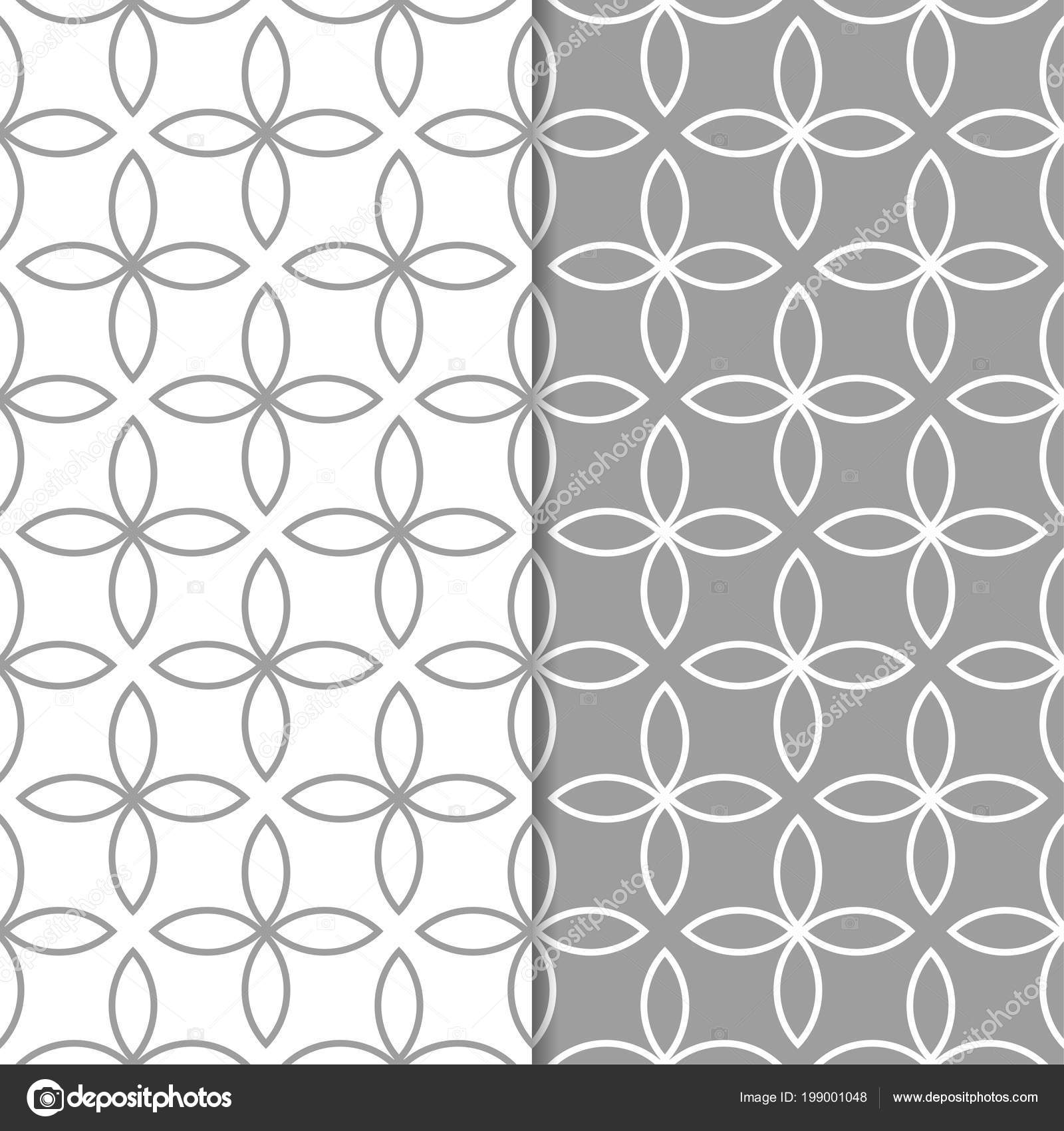Gray White Geometric Set Seamless Patterns Web Textile Wallpapers Stock