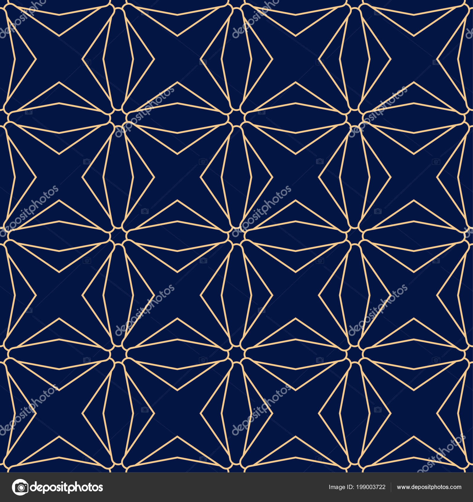 Golden Geometric Print Dark Blue Background Seamless Pattern Web Textile