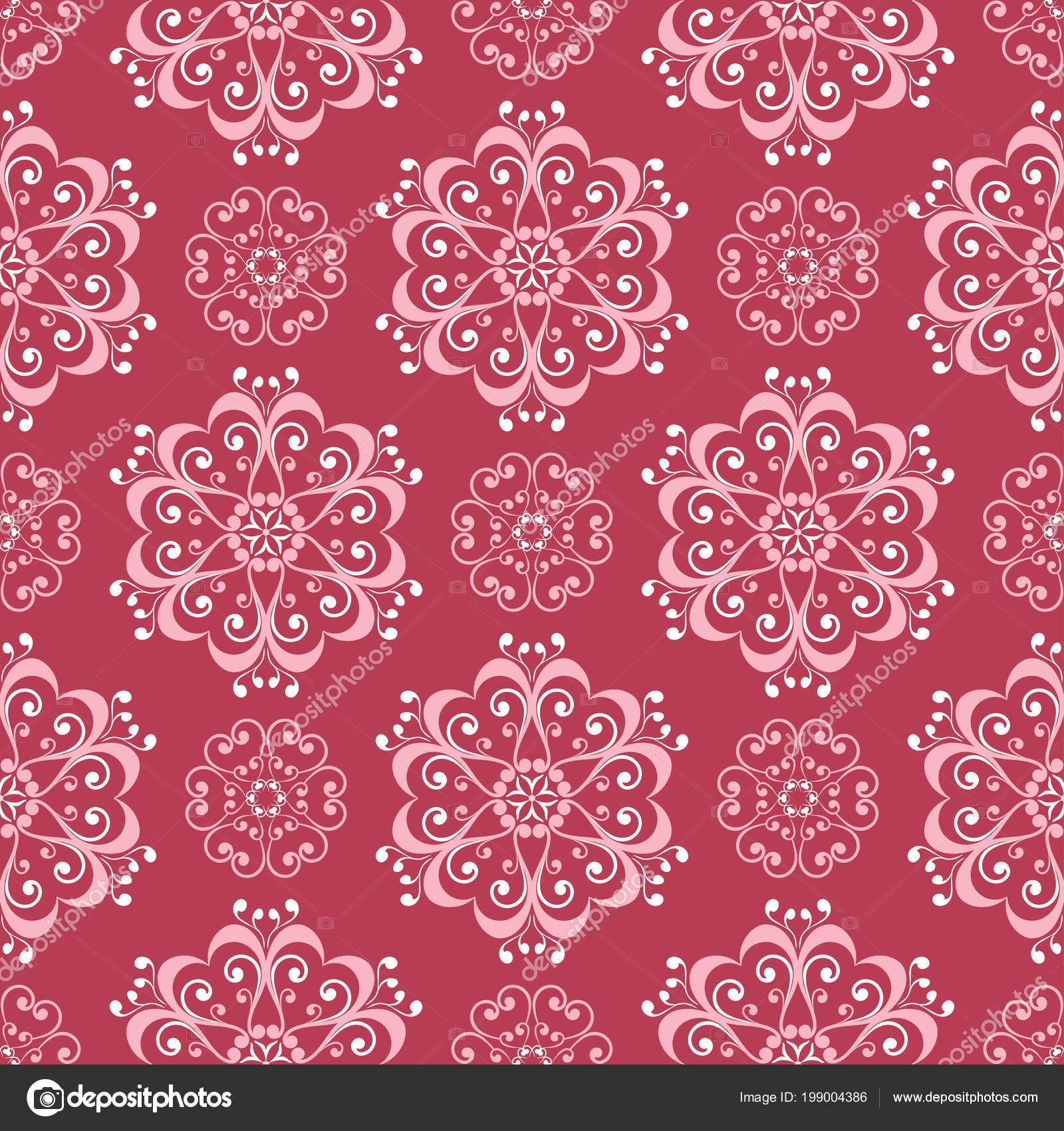 Red And Beige Floral Background Colored Seamless Pattern For Wallpapers,