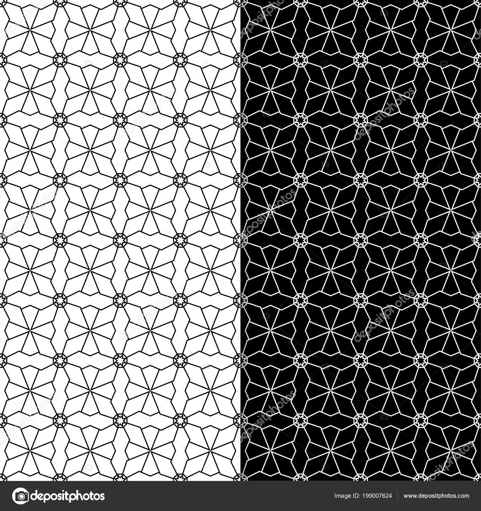 Black And White Geometric Set Of Seamless Patterns For Web,