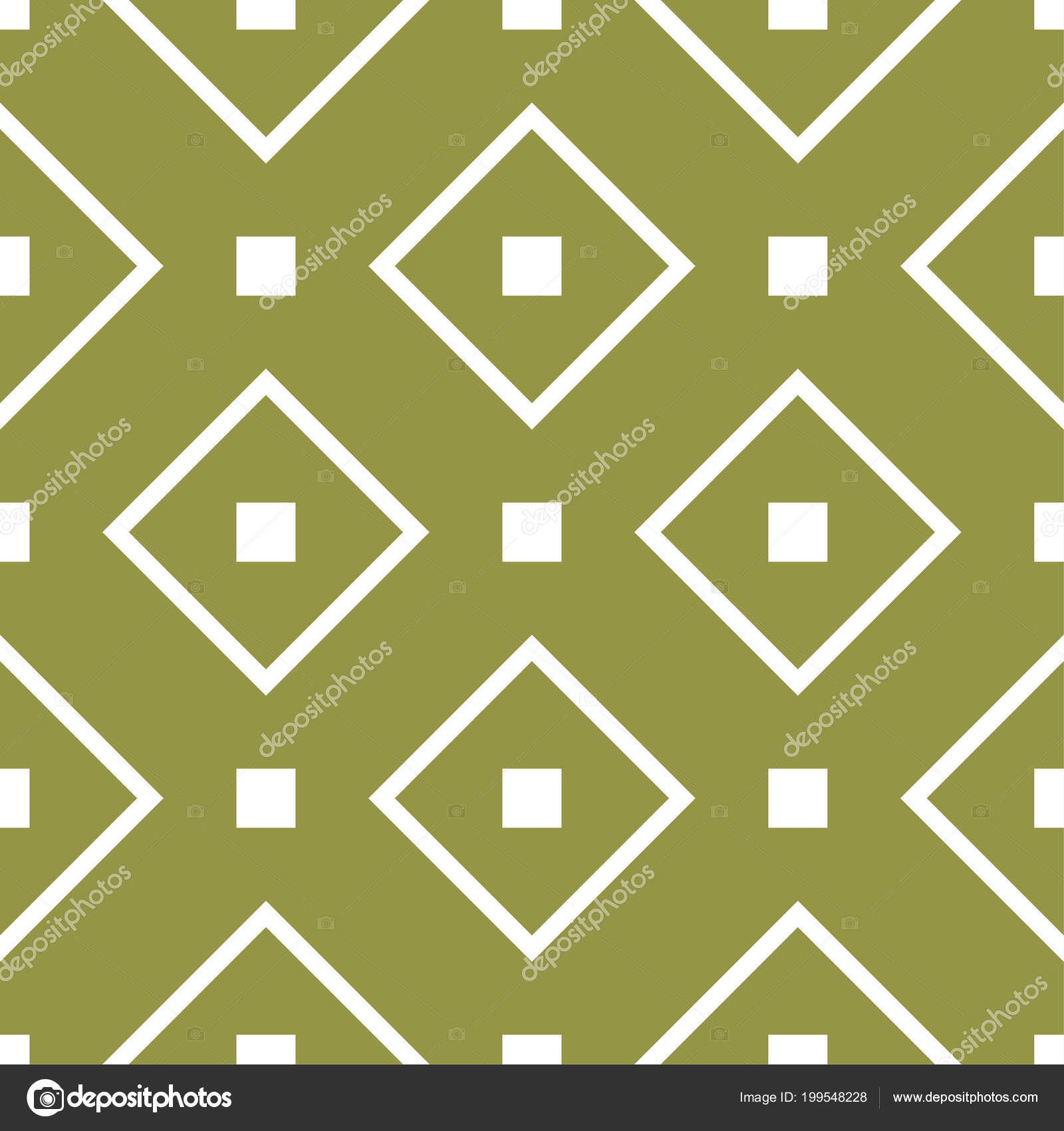 Olive Green White Geometric Ornament Seamless Pattern Web Textile Wallpapers