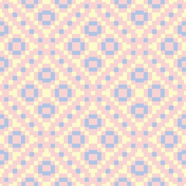 Geometric pink colored seamless pattern with blue and beige elements for wallpapers, textile and fabrics