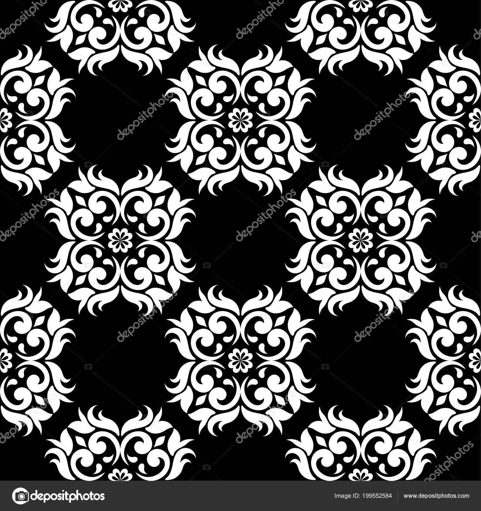 Black And White Floral Ornament Seamless Pattern For Textile And