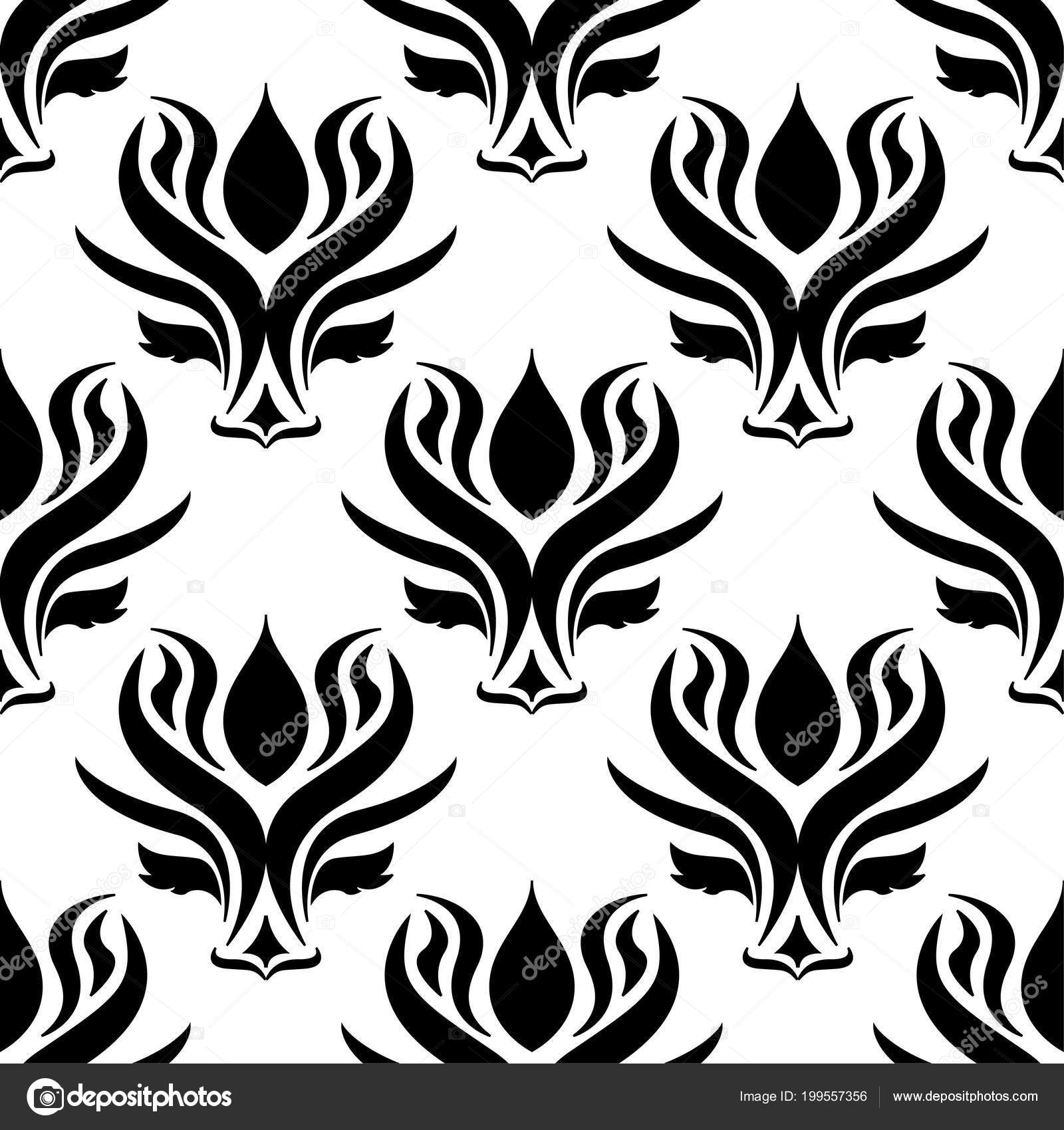 Floral Background Black White Seamless Pattern Design Wallpapers