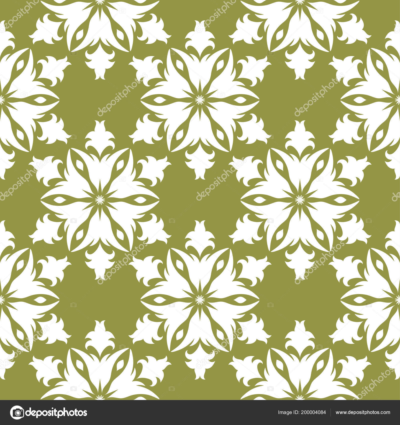 White Floral Design Olive Green Background Seamless Pattern Textile Wallpapers Stock Vector