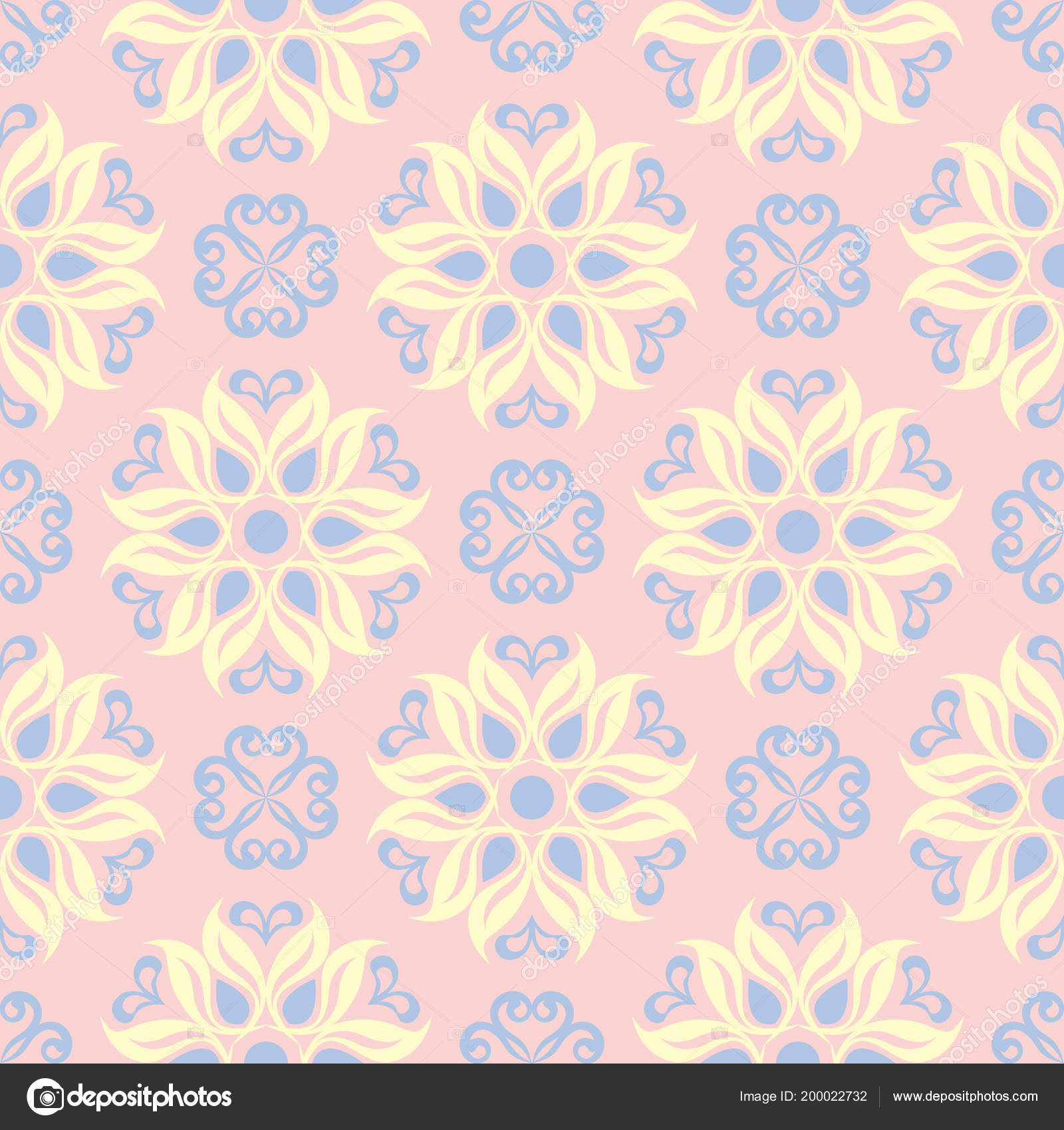 Floral Seamless Background Pink Blue Yellow Flower Pattern