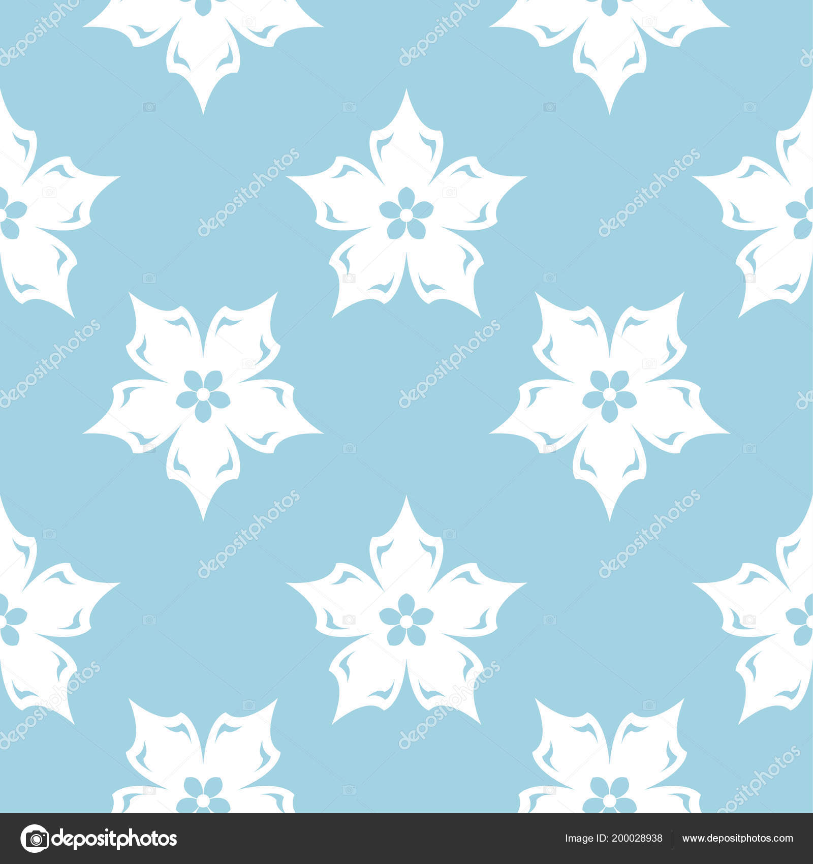 White Floral Ornament Navy Blue Background Seamless Pattern