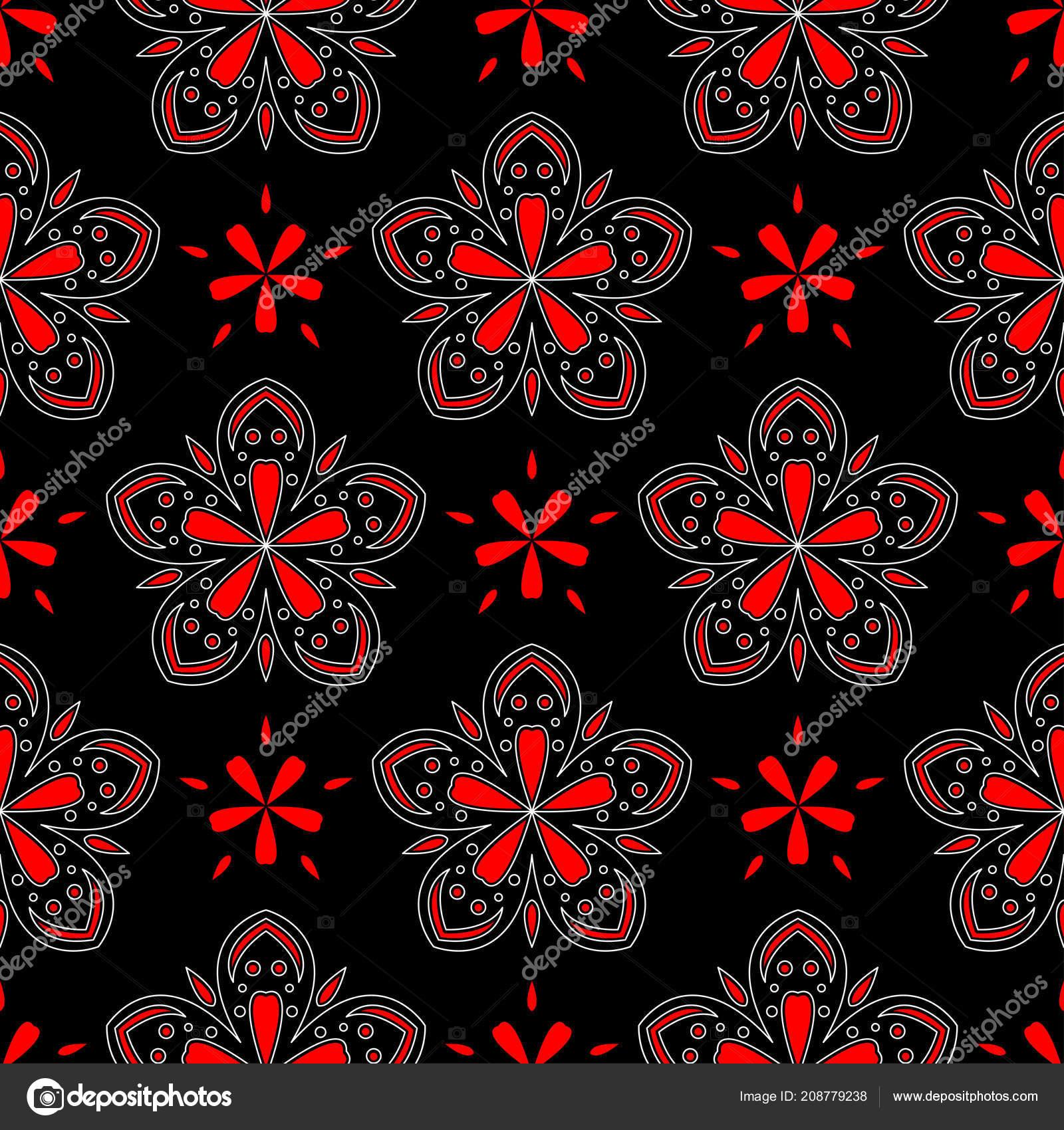Black Red White Floral Seamless Pattern Wallpaper Textile Fabrics