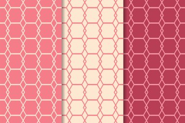 Cherry red geometric ornaments. Set of vertical seamless patterns for web, textile and wallpapers