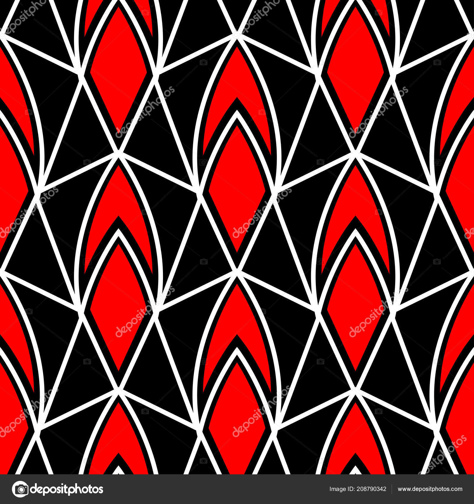 Red White Black Wallpaper Geometric Seamless Pattern Red White