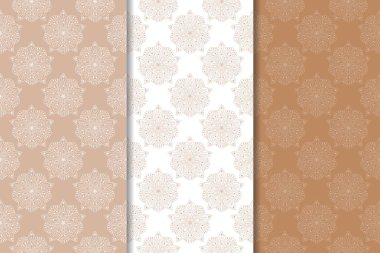 Brown floral ornaments. Set of vertical seamless patterns for textile and wallpapers