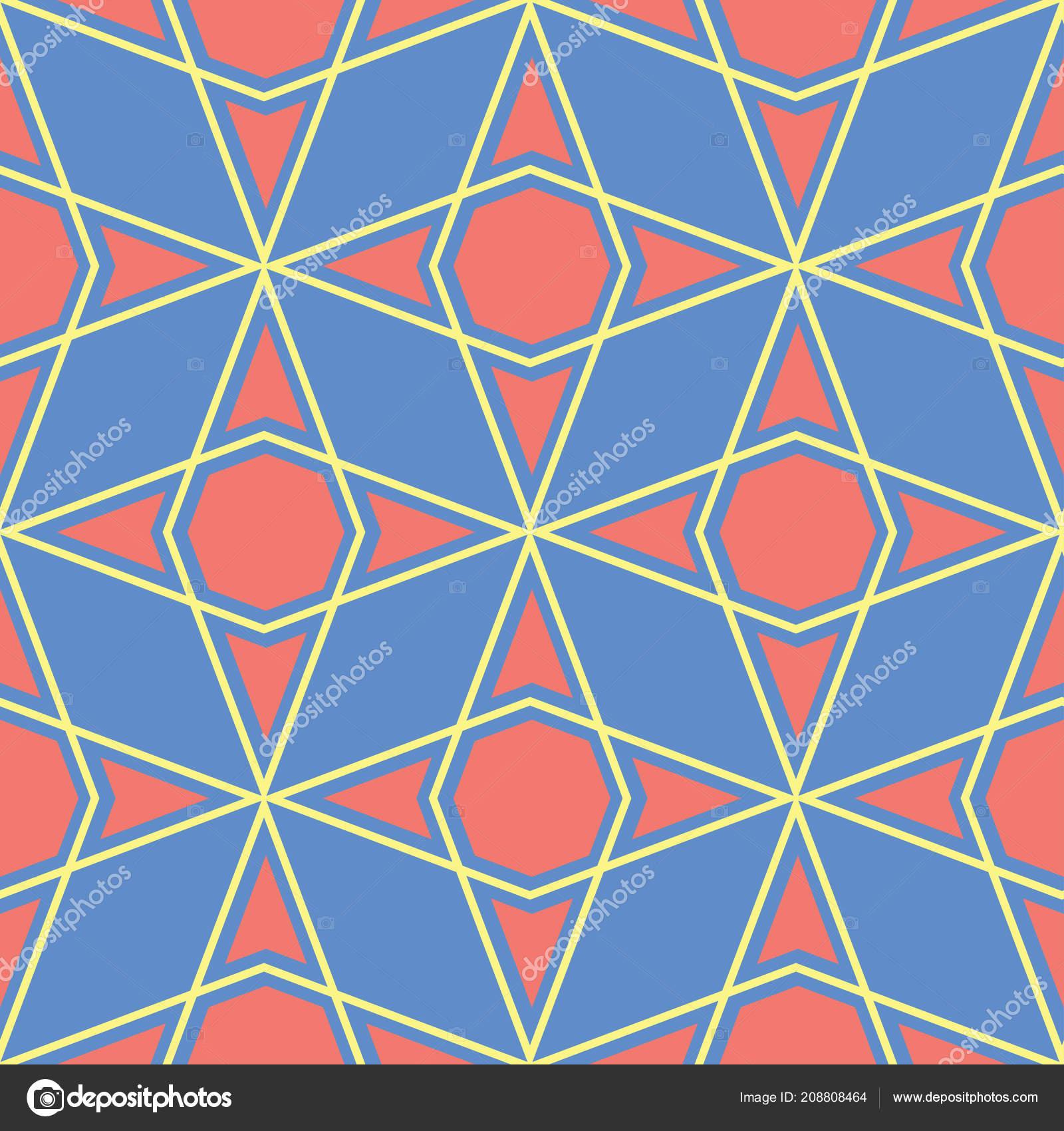 Motif Geometrique Seamless Bleu Multi Couleur Fond Avec Dessin Rouge