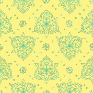 Yellow floral seamless pattern. Colored background with pink and green flower design for wallpapers, textile and fabrics