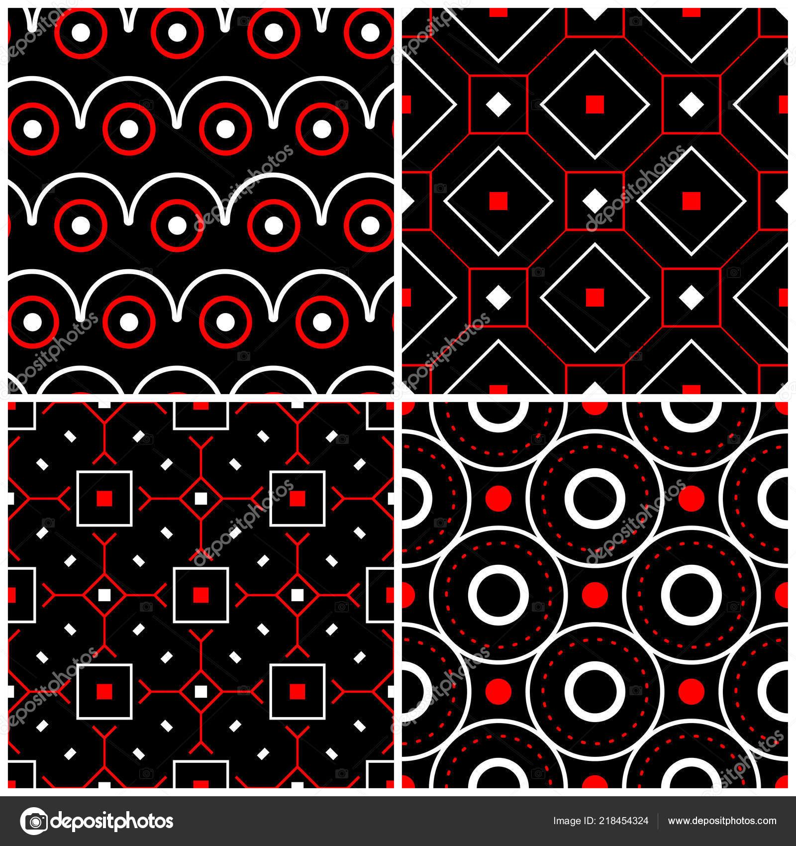 depositphotos 218454324 stock illustration seamless black white red patterns
