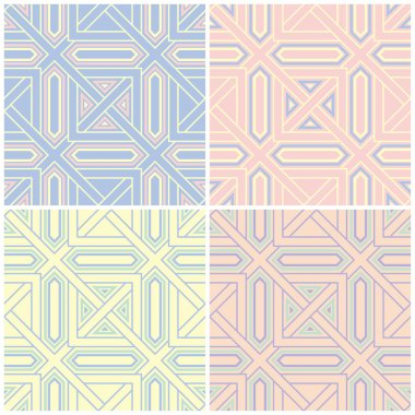 Set of faded colored seamless backgrounds with geometric patterns for wallpapers, textile and fabrics