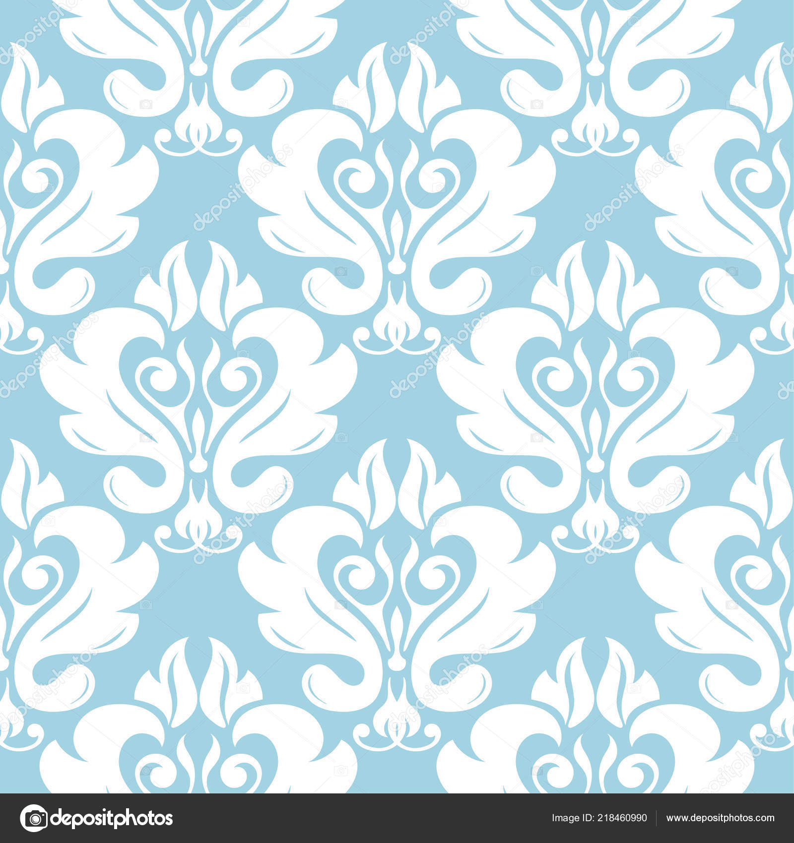 Blue White Floral Ornament Seamless Pattern Textile Wallpapers