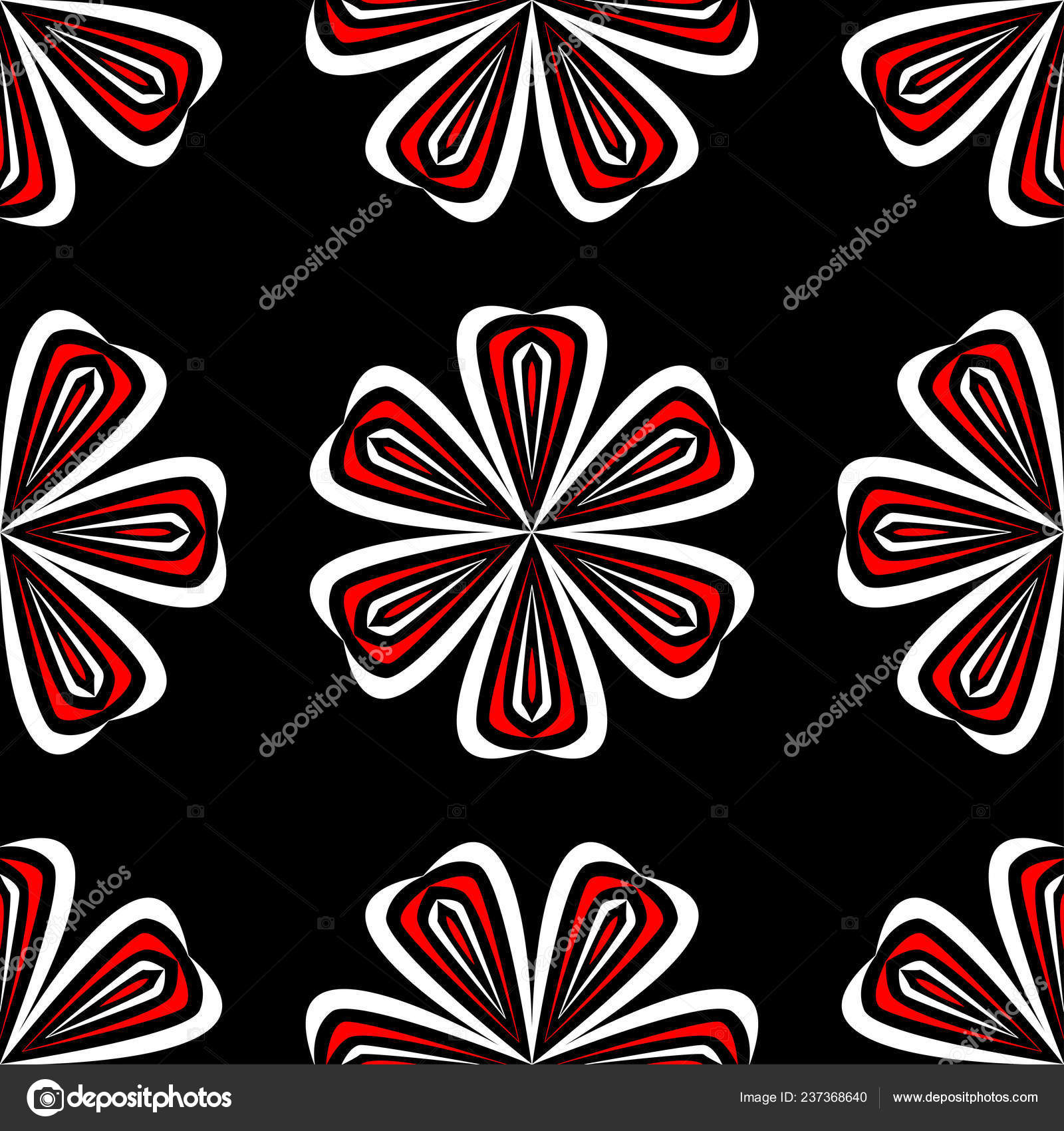 Floral Seamless Pattern Black Red White Background Wallpapers