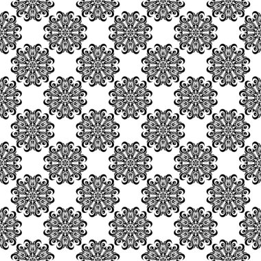 Black and white floral ornaments. Seamless pattern for textile and wallpapers
