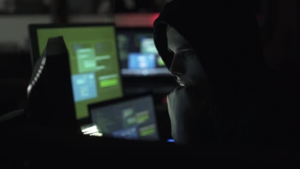 Black hat hacking a computer network, accessing data and stealing private information, cyber security and malware concept