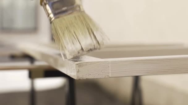 Decorador Profesional Marco Madera Con Pincel Pintura Las Manos
