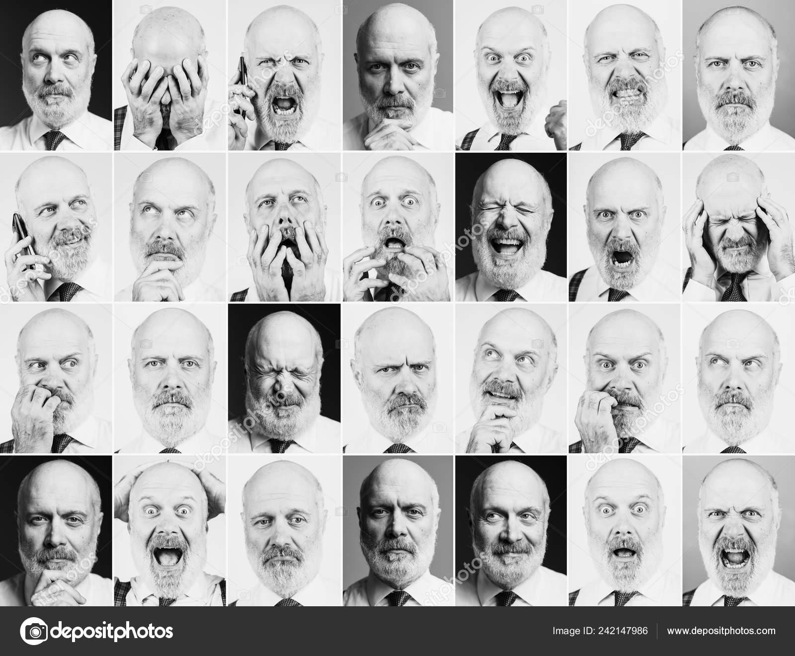 e0d7b5468d Colección de retratos de un hombre de negocios maduro con diferentes  expresiones y Estados de ánimo, mosaico de fotos — Foto de ...